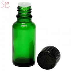 Green glass bottle with childproof cap, 20 ml