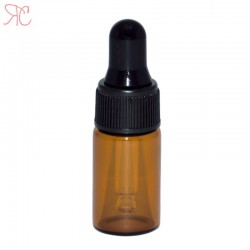 Amber glass bottle with pipette, 3 ml