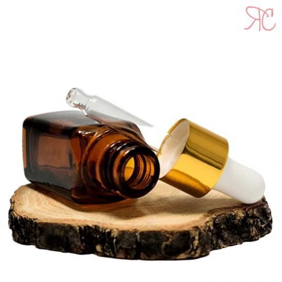 Sticla ambra patrata cu pipeta, 10 ml