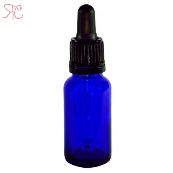 Blue glass bottle with pipette, 20 ml (warranty ring)