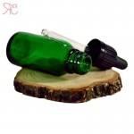 Green glass bottle with pipette, 20 ml (warranty ring)
