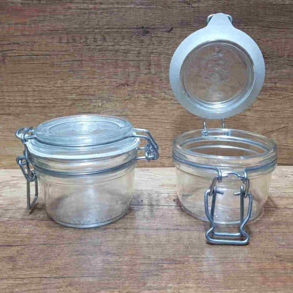 Borcan din sticla, capac cu sarma, 125 ml