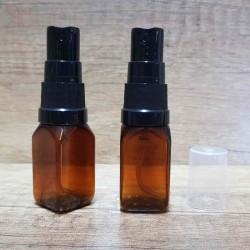 Flacon ambra spray Square, pompa neagra, 15 ml