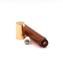 Recipient roll-on din sticlă ambra subtire, capac auriu,10 ml
