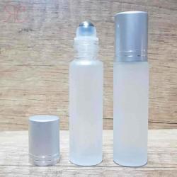 Recipient roll-on alb frosted, capac argintiu, 10 ml