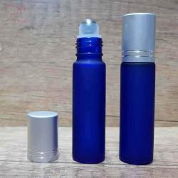 Recipient roll-on albastru royal frosted, capac argintiu, 10 ml