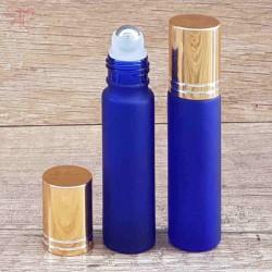 Recipient roll-on albastru royal frosted, capac auriu, 10 ml