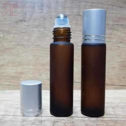 Recipient roll-on frosted ambra, capac argintiu, 10 ml