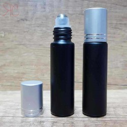 Recipient roll-on negru, capac argintiu, 10 ml