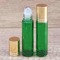 Recipient roll-on verde, capac auriu, 10 ml