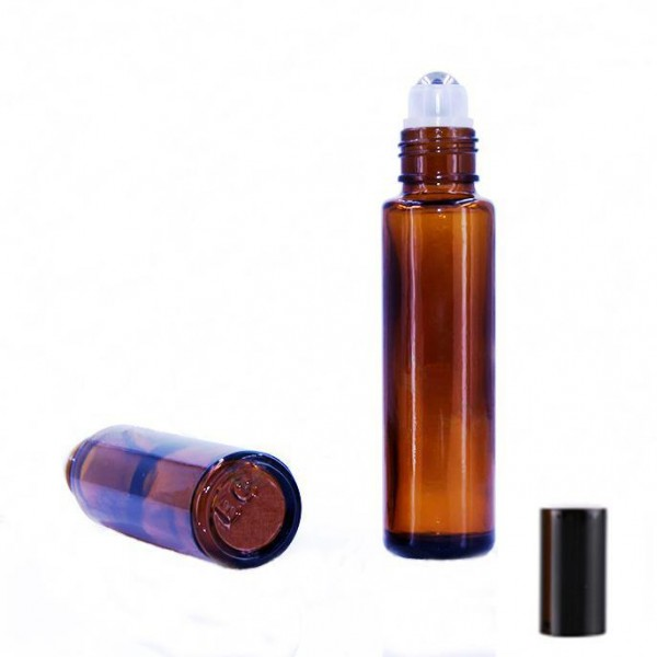 Recipient roll-on din sticlă ambra, 15 ml