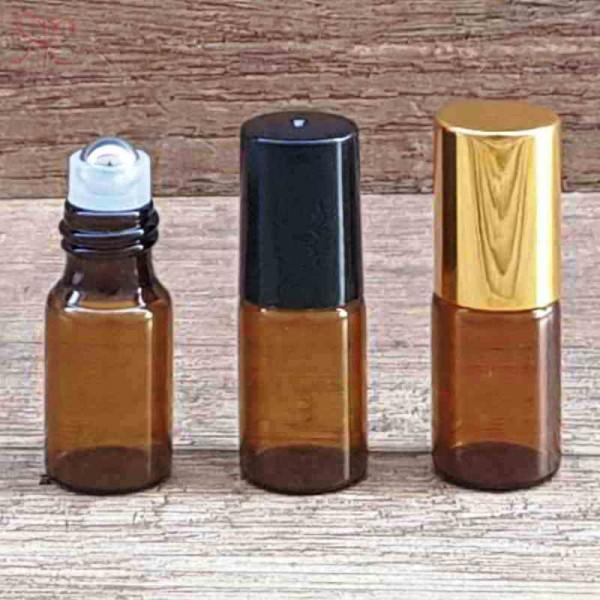 Recipient roll-on ambra, sticla subtire, 3 ml