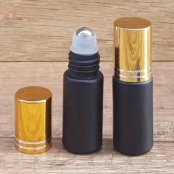 Recipient roll-on negru, capac auriu, 5 ml