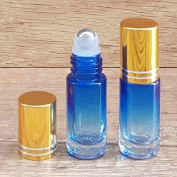 Recipient roll-on sticla albastra degrade, capac auriu, 5 ml