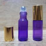 Recipient roll-on violet, sticla subtire, 5 ml