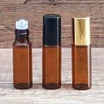 Recipient roll-on ambra, sticla subtire, 5 ml