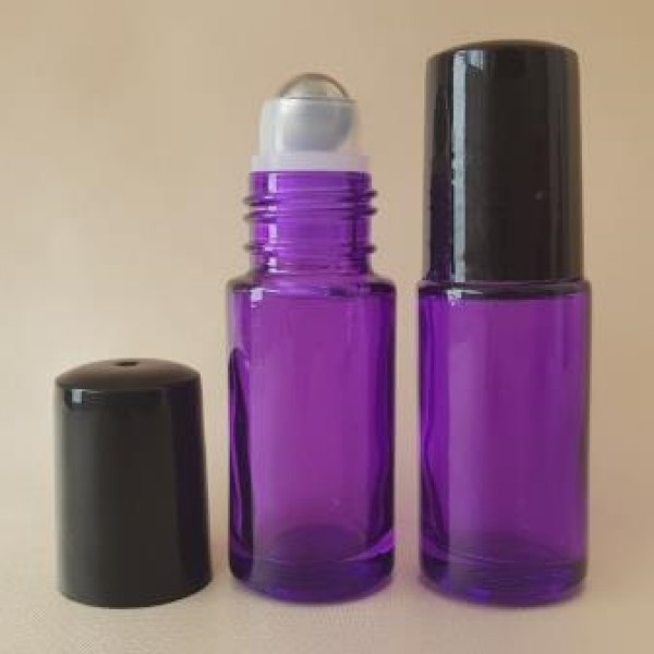 Recipient roll-on din sticlă violet cu capac negru, 5 ml