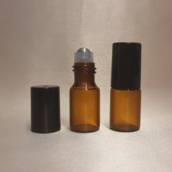 Recipient roll-on  ambra, sticla subtire, 3 ml
