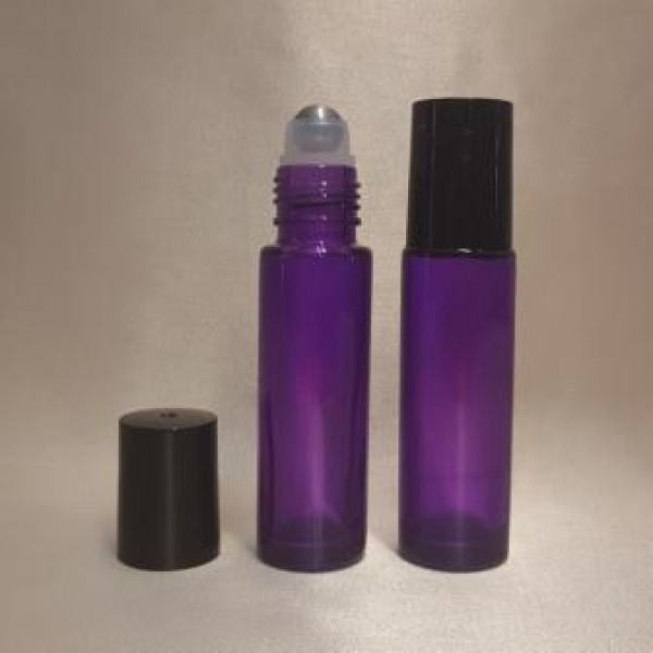 Recipient roll-on din sticlă violet, 10 ml