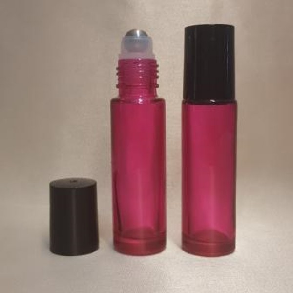 Recipient roll-on din sticlă roz, 10 ml