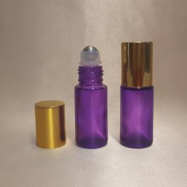 Recipient roll-on din sticlă violet cu capac auriu, 5 ml