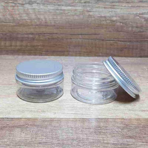Cutie transparenta, capac argintiu, 25 ml