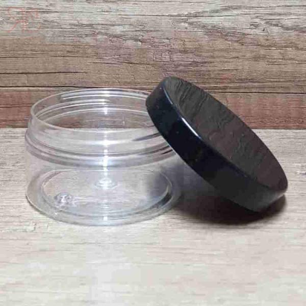 Cutie transparenta, capac negru, 100 ml