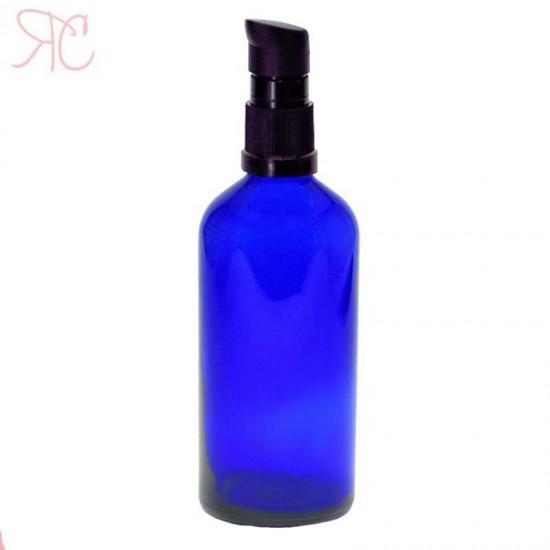 Sticla albastra cu pompa (uleiuri), 100 ml