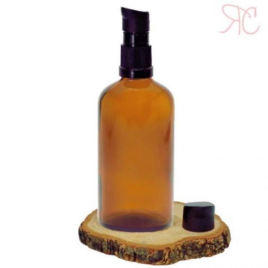 Sticla ambra cu pompa (uleiuri), 100 ml