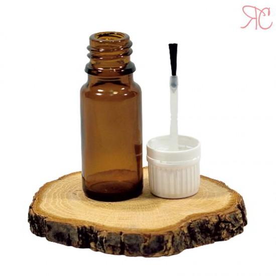 Sticla ambra, capac perie aplicatoare pentru unghii, 10 ml