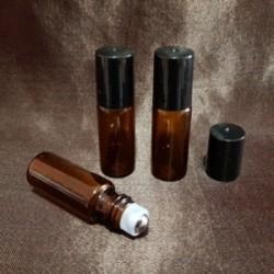 Recipient roll-on din sticlă ambra, 5 ml