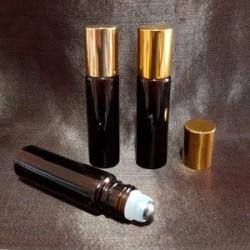 Recipient roll-on din sticlă ambra groasă, capac auriu,10 ml