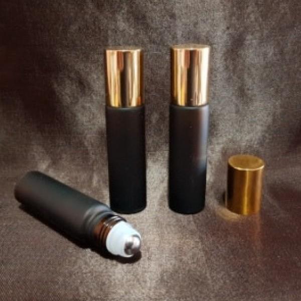 Recipient roll-on frosted din sticlă ambra cu capac auriu, 10 ml