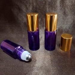 Recipient roll-on din sticlă violet cu capac auriu, 5 ml